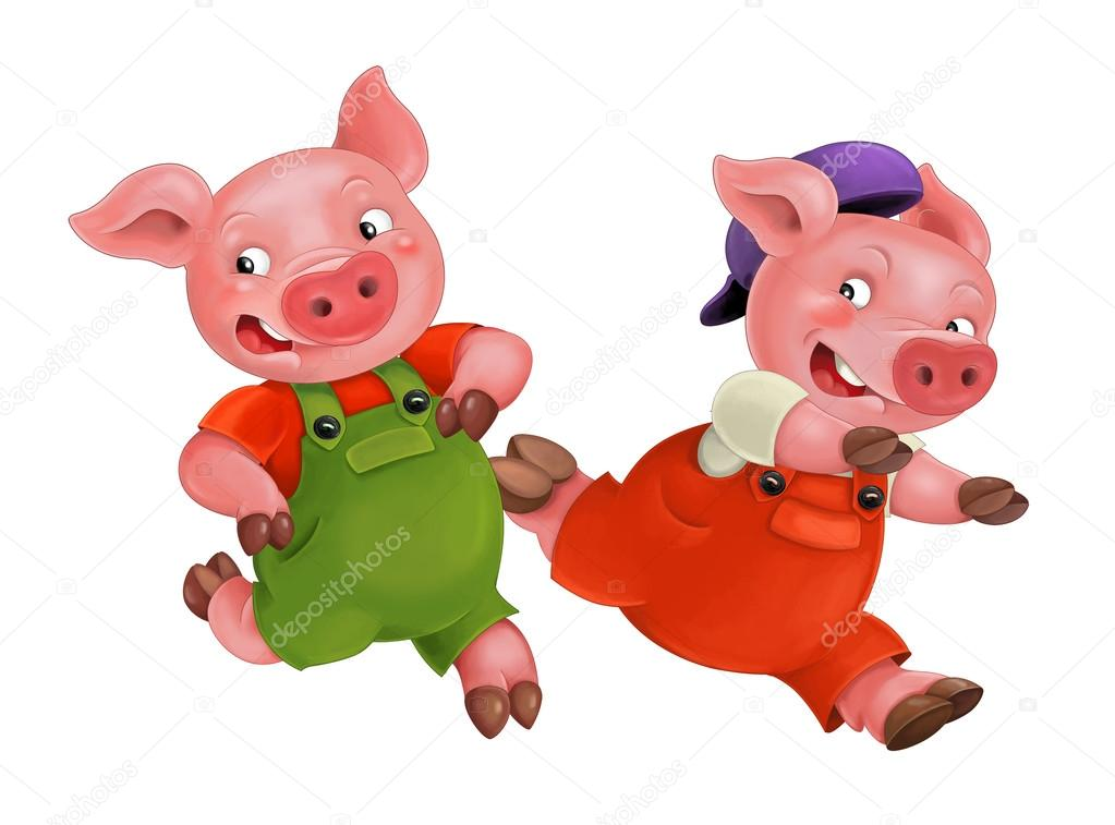 Cartoon isolated young pigs in work outfit running - isolated - illustration for the children