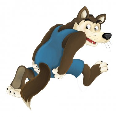 Cartoon happy and colorful wolf running away - isolated - illustration for the children