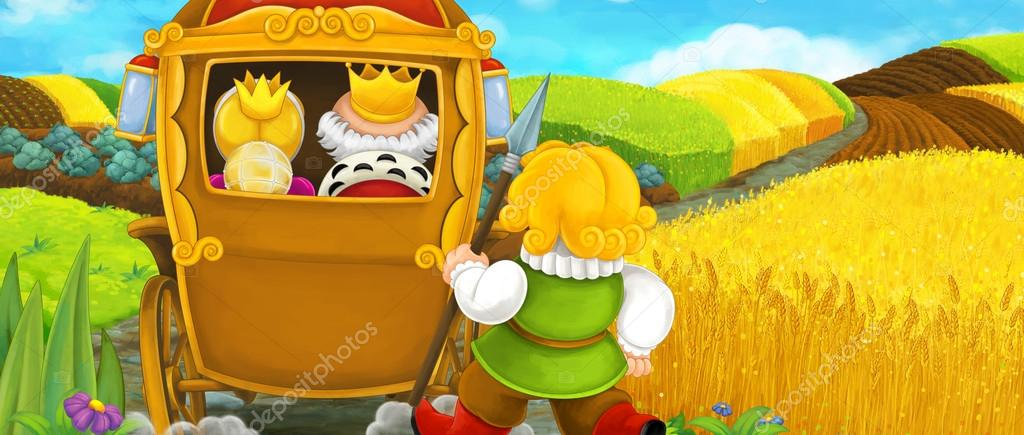 Cartoon scene with carriage and royal pair - illustration for children