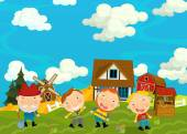 Kreslený scény s farmáři v obci