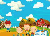 Cartoon scene with farmers family