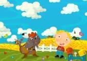 Cartoon šťastný a legrační scéna s boy a kočka - přátel - ustrojených - ilustrace pro děti