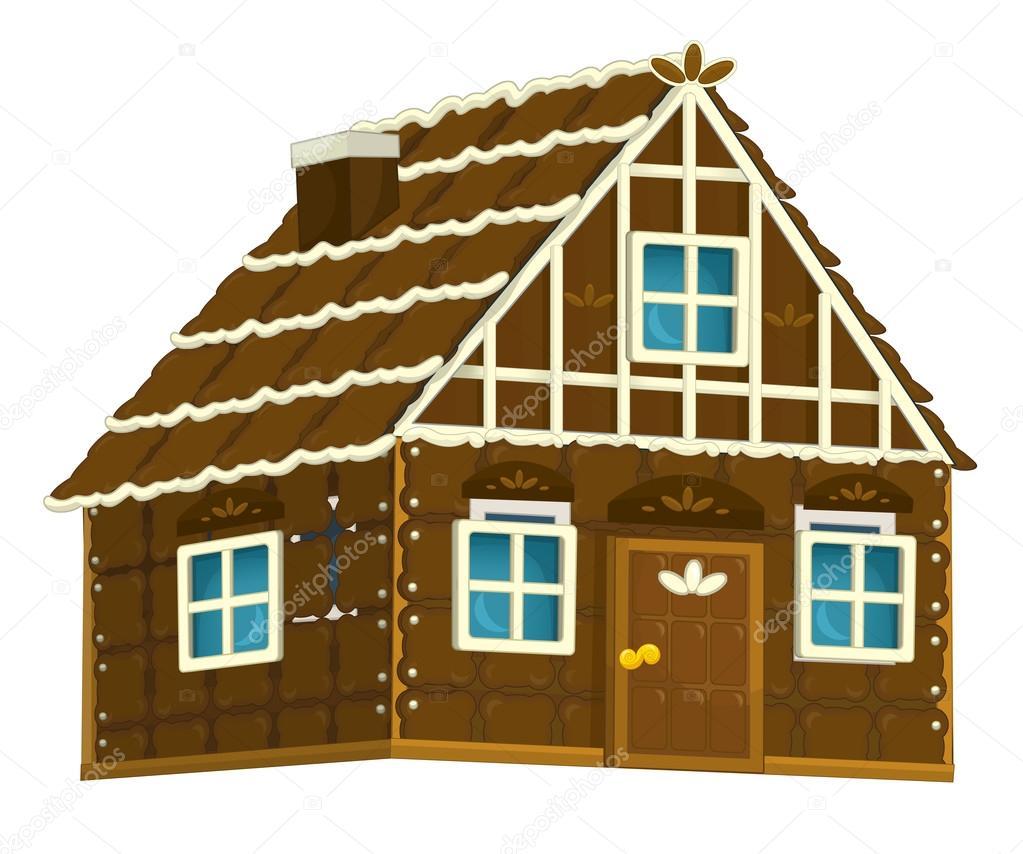 Ancienne maison de bonbons en bois dessin animé avec illustration isolé éléments au chocolat pour les enfants image de