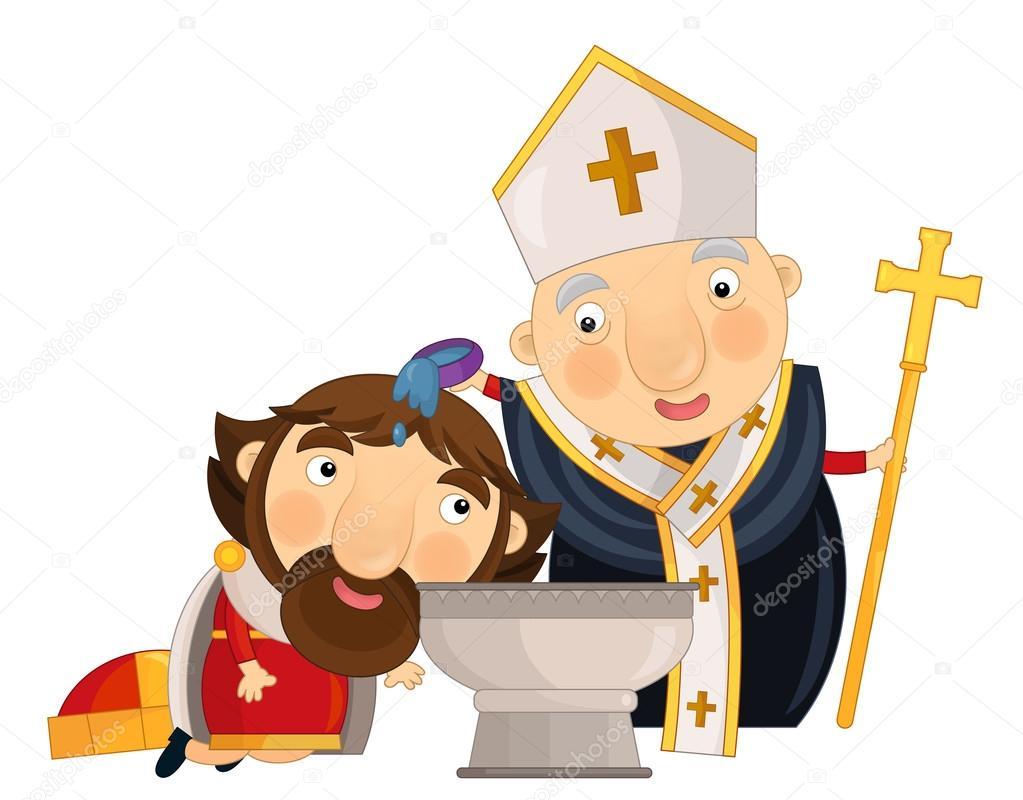 Escena De Dibujos Animados Con Sacerdote Y Rey