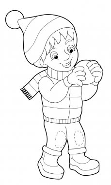 Winter activity - coloring page - illustration for the children stock vector