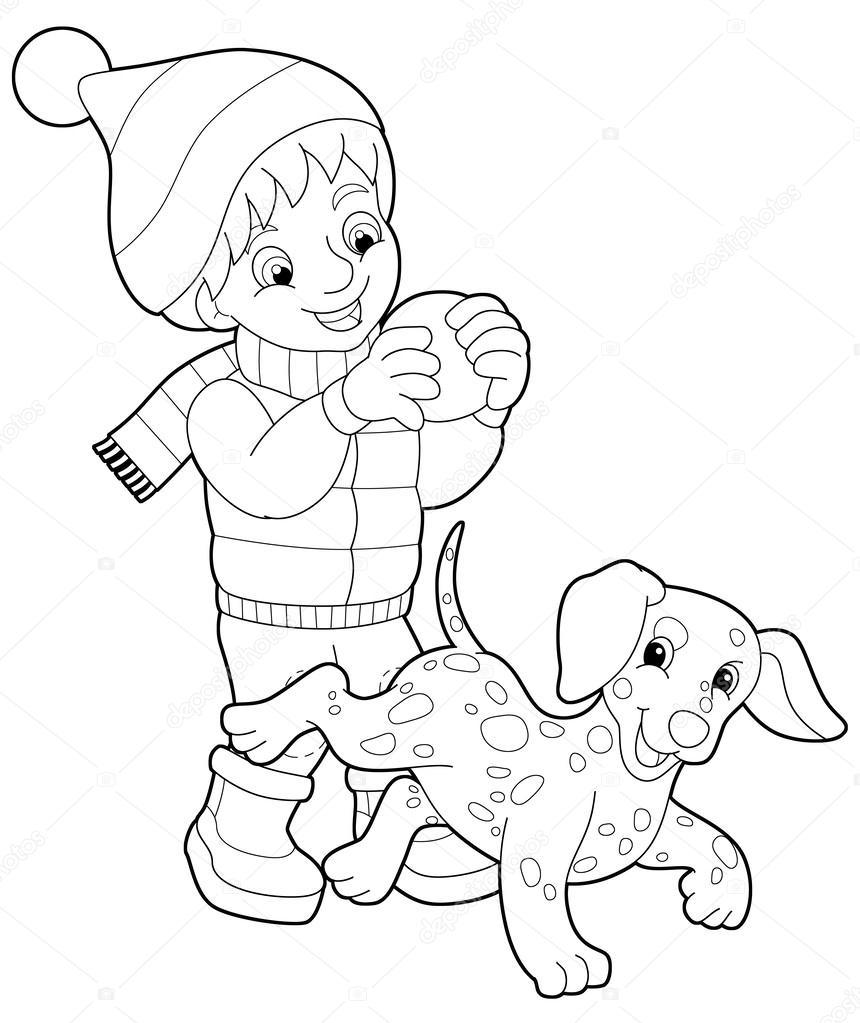 Foto Perros Para Dibujar Niño Y Perro Página Para