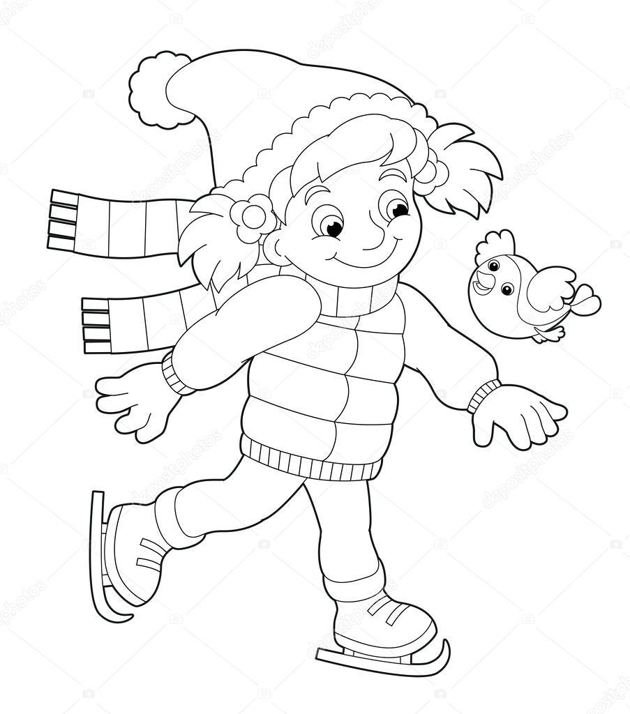 Coloring Page Girl With Bird Stock Photo C Agaes8080 52559955