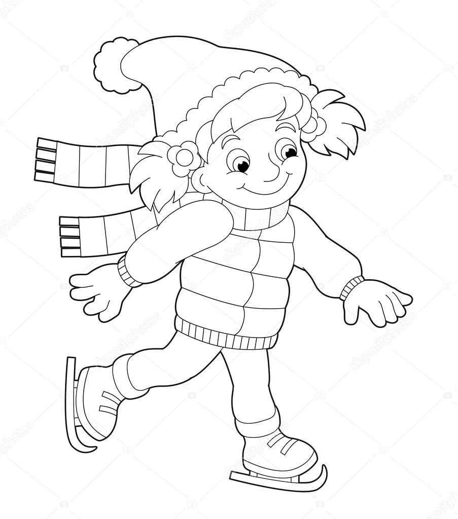 Winter Kleurplaten Schaatsen.Meisje Schaatsen Kleurplaat Stockfoto C Agaes8080 52559957