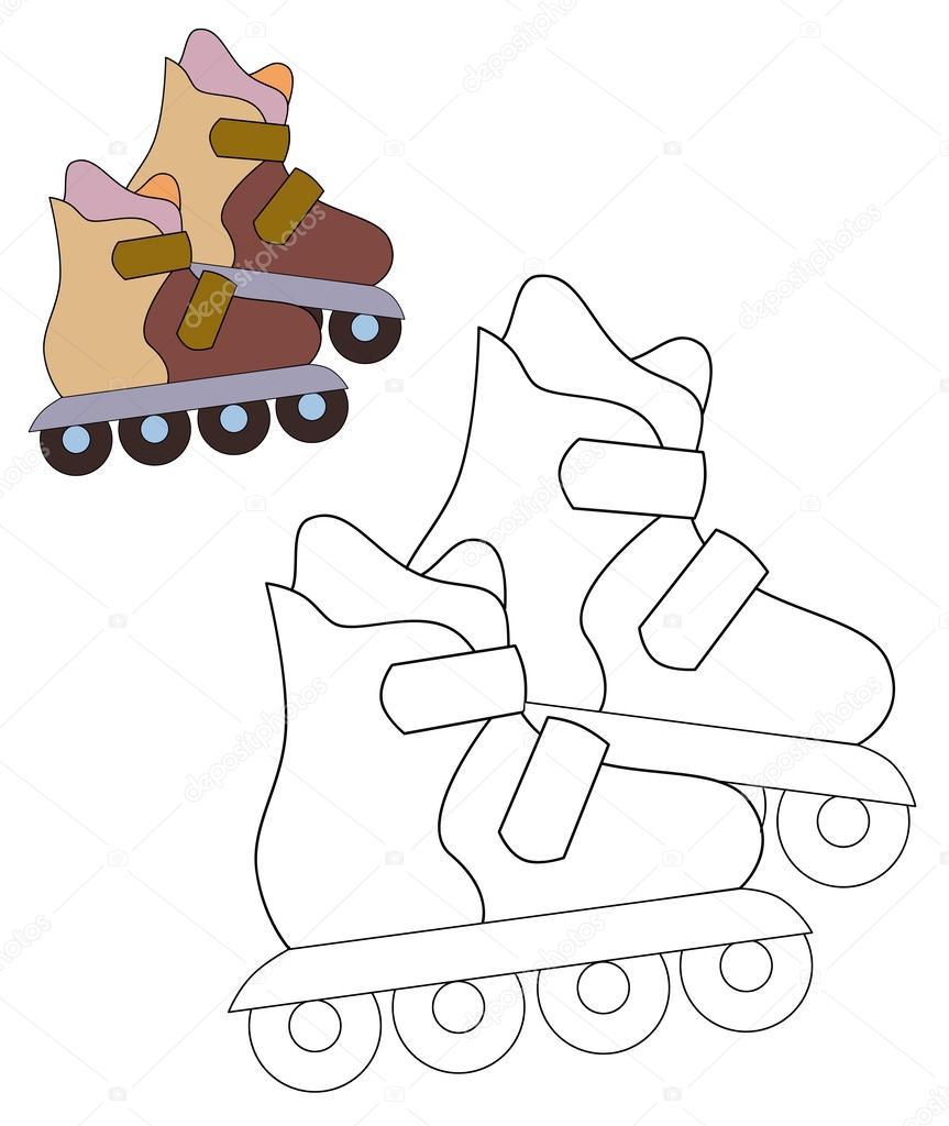 rolschaatsen kleurplaten pagina stockfoto 169 agaes8080