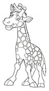 Cartoon small animal - coloring page - giraffe - illustration for the children stock vector
