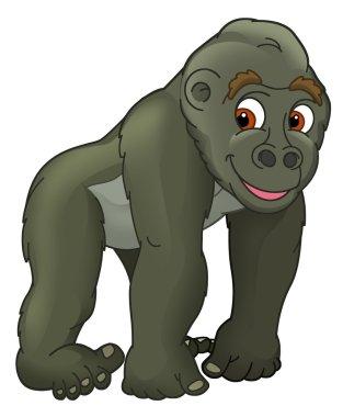 Cartoon animal - gorilla - caricature - illustration for the children stock vector