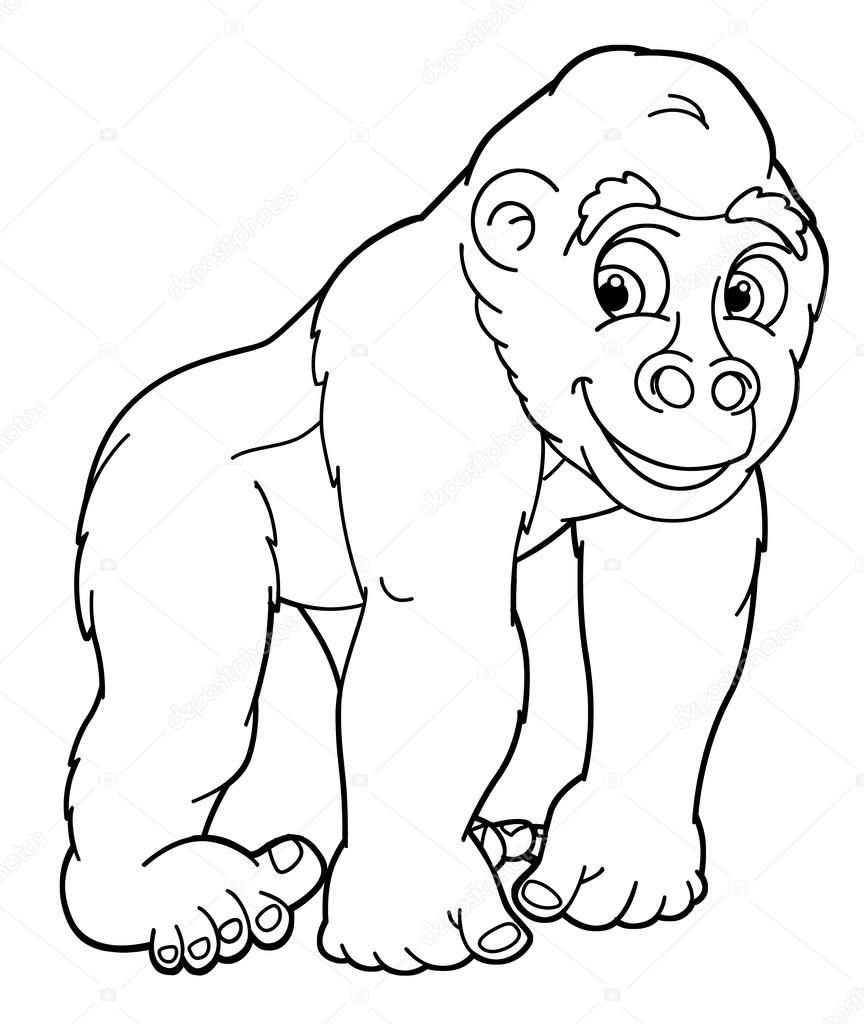 cartoon animal gorilla caricature coloring page illustration for the children photo by agaes8080 - Coloring Page Gorilla