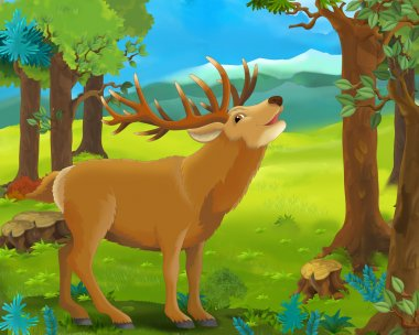 Cartoon animal scene - deer - illustration for the children stock vector