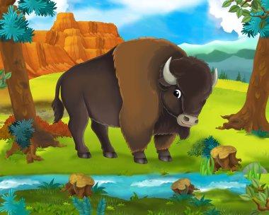 Cartoon animal scene -  Bison  - illustration for the children stock vector