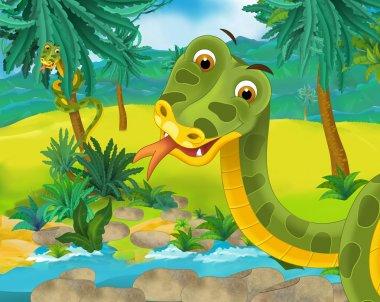 Cartoon scene - wild South America animals - snake - illustration for the children stock vector