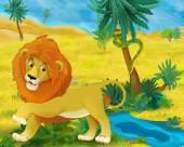 Fotografie Cartoon  lion in Africa