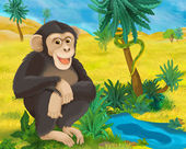 Fotografie Kreslený volně žijící opice