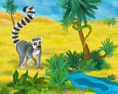 Fotografie Cartoon wild lemur