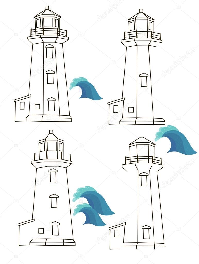 Casa de la luz con las ondas para colorear — Foto de stock ...