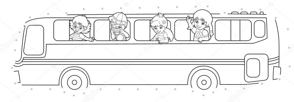 çizgi Film Otobüs Sayfa Boyama Stok Foto Agaes8080 70278359