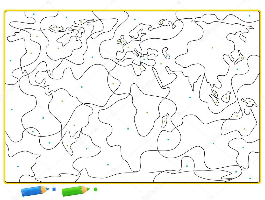 Coloring page of map of the world — Stock Photo © agaes8080 #70278561