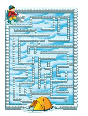 Cartoon winter labyrinth