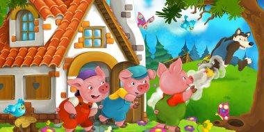 Cartoon scene - pigs