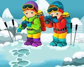 zwei Cartoon-Alpinisten