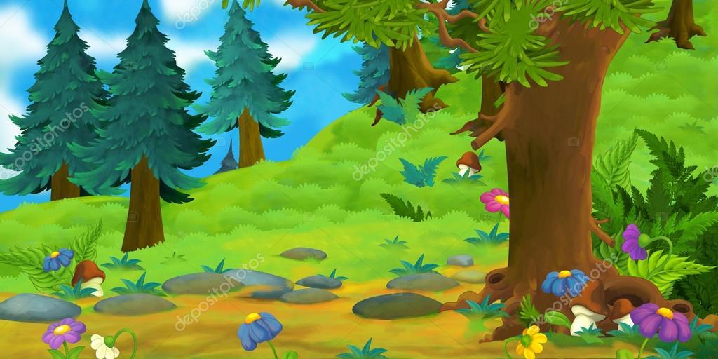 Bir Ormanın çizgi Film Arka Plan Stok Foto Agaes8080 90793246