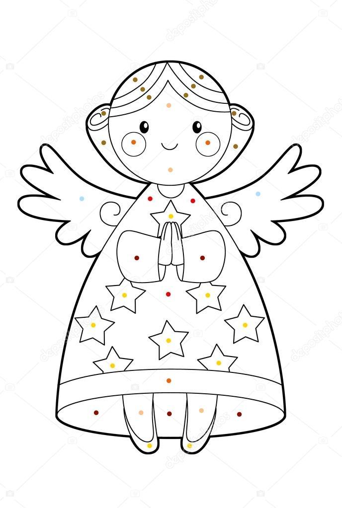 Página para colorear - Ángel de la Navidad — Fotos de Stock ...