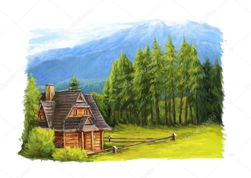 Cartoon painted scene - small wooden home in the mountains