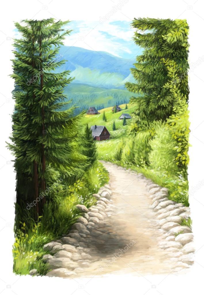Dessin Anime Scene Peinte Petite Maison En Bois Dans Les Montagnes