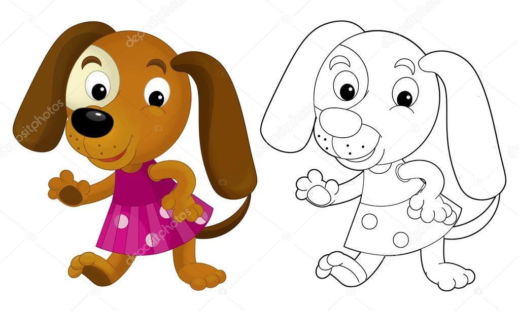 Perro De La Nina De Dibujos Animados Colorear Pagina Con Muestras