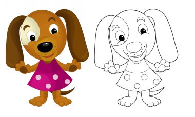 Cartoon girl dog - coloring page with preview