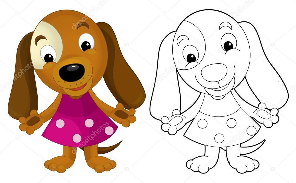 Nina Con Perro Para Colorear Perro De La Nina De Dibujos Animados