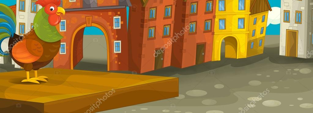 Cartoon Background Of An Old Town With A Rooster On The Wooden
