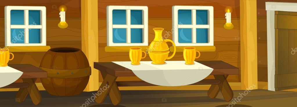 Fondo De Dibujos Animados Del Interior De Una Casa Antigua