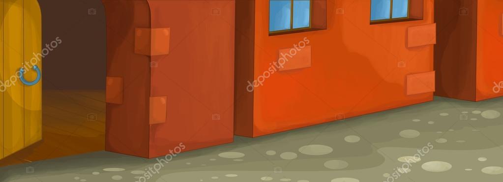 Dessin anim fond d immeuble av mur rouge avec porte for Porte ouverte dessin