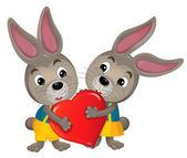 Zeichentrickkaninchen mit Valentinsherz