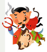 Fotografie Cartoon funny devil and nobleman - isolated