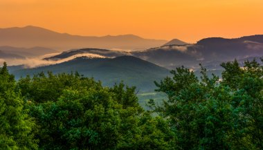 Fog over the Appalachian Mountains at sunset, seen from the Blue