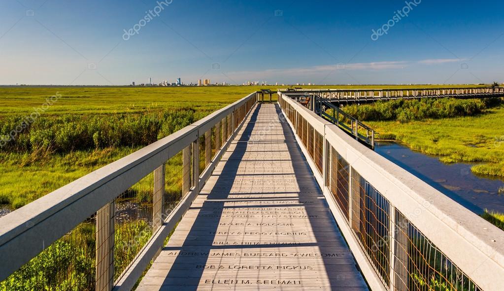 Фотообои Boardwalk over marshes at Edwin B. Forsythe National Wildlife Re
