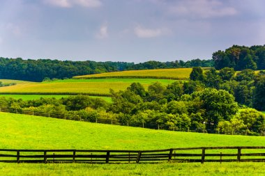 Farm fields and rolling hills in rural York County, Pennsylvania