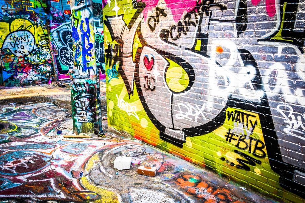 Kolorowe Wzory W Graffiti Aleja Baltimore Maryland Zdjecie