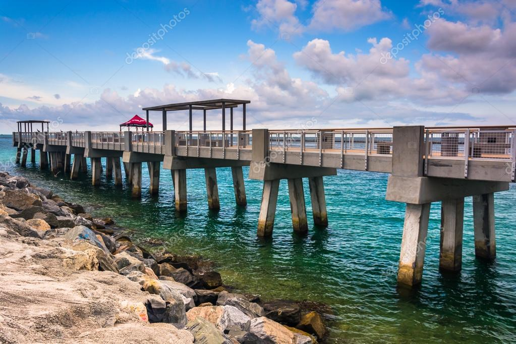 Fishing Pier And Jetty At South Pointe Park Miami Beach Florid Stock Photo