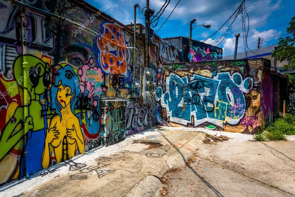 graffiti en las paredes en un callejn en poco cinco puntos atlanta ge u