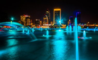 The Friendship Fountains and view of the skyline at night in Jac