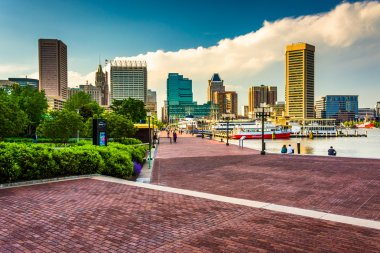 The Waterfront Promenade and skyline at the Inner Harbor in Balt