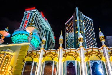 Trump Taj Mahal at night in Atlantic City, New Jersey.