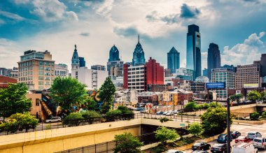 View of the Philadelphia skyline from the Reading Viaduct, Phila